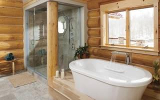 Дизайн помывочной в бане с плиткой